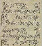 Diamant-Zier-Sticker-Bogen-1904dg-Zum Schulanfang-gold