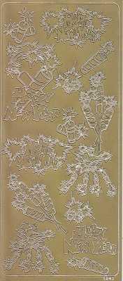 Zier-Sticker-Bogen-Silvester-Raketen-Feuerwerk-gold-1941g