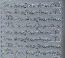 Zier-Sticker-Bogen-Zur Konfirmation-silber-1960s