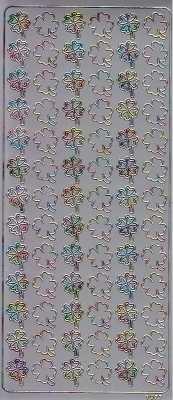 Zier-Sticker-Bogen-Glücksklee-Kleeblätter-silber-multi-1977sm