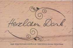 Heyda-Stempel-auf Holz montiert- Schriftzug mit Schnörkel-Herzlichen Dank-88618