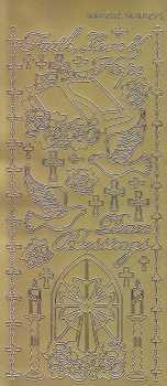 Zier-Sticker-Bogen-Christliche Motive-gold-2112g