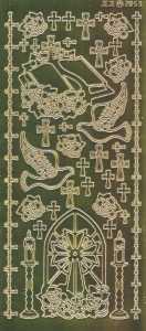 Zier-Sticker-Bogen-2112spfg-Spiegelfolie-Christliche Motive-gold