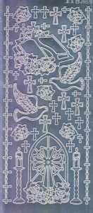 Zier-Sticker-Bogen-2112spfs-Spiegelfolie-Christliche Motive-silber