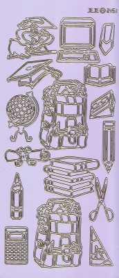 Zier-Sticker-Bogen-2151flg-Motive für Schule-Büro-Uni-flieder/gold