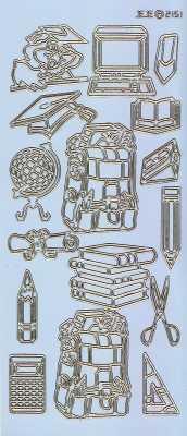 Zier-Sticker-Bogen-Motive für Schule-Büro-Uni-hellblau/gold-2151hblg