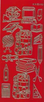 Zier-Sticker-Bogen-Motive für Schule-Büro-Uni-rot/gold-2151rg