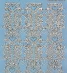 Zier-Sticker-Bogen-Spiegelfolie-breite Ränder/Bordüren-blau/gold-2155-blg