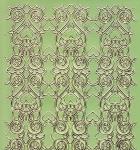 Zier-Sticker-Bogen-Spiegelfolie-breite Ränder/Bordüren-grün/gold-2155-grg