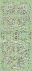 Zier-Sticker-Bogen-Spiegelfolie-Ecken und Ornamente-grün/gold-2177grg
