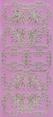 Zier-Sticker-Bogen-2177spfro-Spiegelfolie-Ecken und Ornamente-rosa/gold