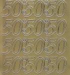 Zier-Sticker-Bogen-2230g-Jubiläumszahlen 50 -gold