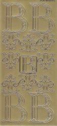 Zier-Sticker-Bogen-Buchstaben-Monogram B -Ornamente-gold-2238Mg