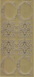Zier-Sticker-Bogen-Buchstaben-Monogram C -Ornamente-gold-2239Mg
