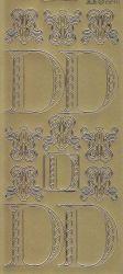 Zier-Sticker-Bogen-Buchstaben-Monogram D -Ornamente-gold-2240Mg