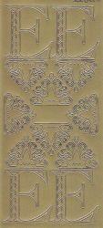 Zier-Sticker-Bogen-Buchstaben-Monogram E -Ornamente-gold-2241Mg