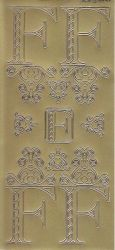 Zier-Sticker-Bogen-Buchstaben-Monogram F -Ornamente-gold-2242Mg