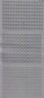 Zier-Sticker-Bogen-Buchstaben-nur V, W und X -silber-2244s