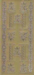 Zier-Sticker-Bogen-Buchstaben-Monogram I -Ornamente-gold-2245Mg