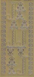 Zier-Sticker-Bogen-Buchstaben-Monogram J -Ornamente-gold-2246Mg