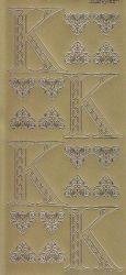Zier-Sticker-Bogen-Buchstaben-Monogram K -Ornamente-gold-2247Mg