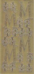 Zier-Sticker-Bogen-Buchstaben-Monogram M -Ornamente-gold-2249Mg