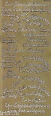 Zier-Sticker-Bogen-verschiedene Schriftzüge-Schule-gold-2253g