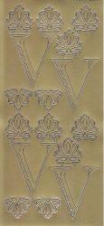 Zier-Sticker-Bogen-Buchstaben-Monogram V -Ornamente-gold-2258Mg