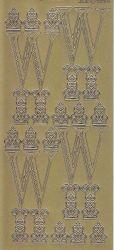 Zier-Sticker-Bogen-Buchstaben-Monogram W-Ornamente-gold-2259Mg