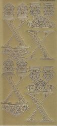 Zier-Sticker-Bogen-2260Mg-Buchstaben-Monogram X -Ornamente-gold