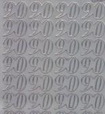 Zier-Sticker-Bogen-Jubiläumszahlen 90 -silber-2277s