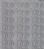 Zier-Sticker-Bogen-Jubiläumszahlen 100 -silber-2278s