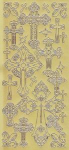 Zier-Sticker-Bogen-Christliche Motive-Kreuze-gold-2287g