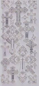 Zier-Sticker-Bogen-Christliche Motive-Kreuze-silber-2287s