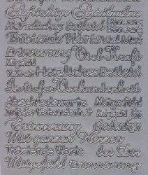 Zier-Sticker-Bogen-verschiedene Schriftzüge-Trauer-Beileid 2304s