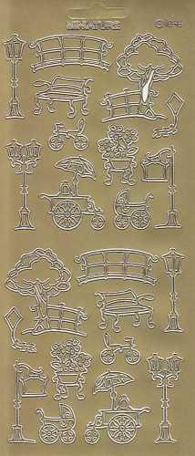 Zier-Sticker-Bogen-verschiedene Park Motive-Bank-Laterne-Zaun-Baum-gold-2315g