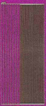 Micro-Glittersticker-glatte Ränder-pink / gold-2400gpig