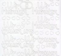 Zier-Sticker-Bogen-Wir Heiraten/Wir trauen uns -weiß-2436w