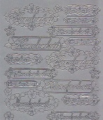 Zier-Sticker-Bogen-2460s-Handarbeit-verschiedene Label-silber