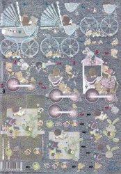 Dufex-3D-Stanzbogen-759945-Baby 2-Kinderwagen-gravierte Motive-Alu-beschichtetes Papier