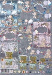 Dufex-3D-Stanzbogen-759946-Baby-Wolkenschaukel-gravierte Motive-Alu-beschichtetes Papier