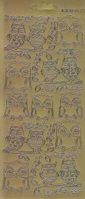 Zier-Sticker-Bogen-2534g-Eulen-gold