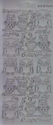 Zier-Sticker-Bogen-2534s-Eulen-silber
