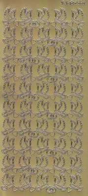 Zier-Sticker-Bogen-Tauben / Turteltauben -gold-2568g