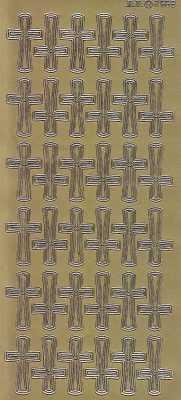 Zier-Sticker-Bogen-2569g-Christliche Motive-Kreuze-gold