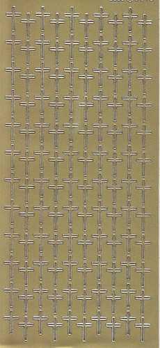 Zier-Sticker-Bogen-Christliche Motive-Kreuze-gold-2570g