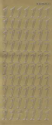 Zier-Sticker-Bogen-große Zahlen- nur 1 -gold-2577g