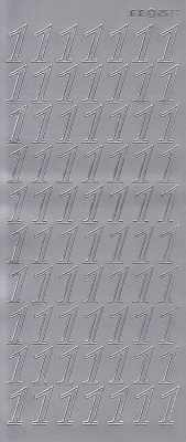 Zier-Sticker-Bogen-große Zahlen- nur 1 -silber-2577s