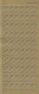 Zier-Sticker-Bogen-große Zahlen- nur 2 -gold-2578g