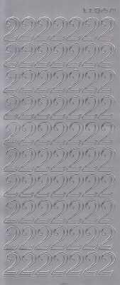 Zier-Sticker-Bogen-große Zahlen- nur 2 -silber-2578s